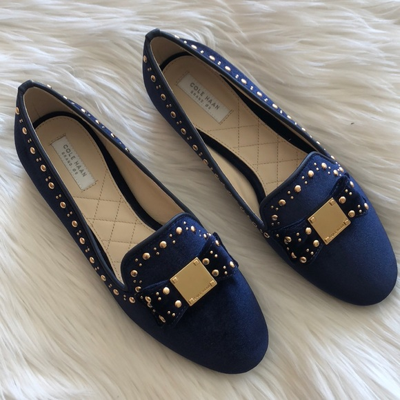 ca900602a16 Cole Haan Tali Bow Stud Loafer in Blue Velvet
